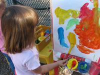 Child enjoys painting